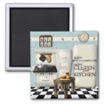 Teal Gluten Free Kitchen 2 Inch Square Magnet
