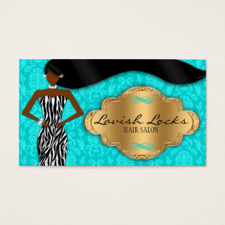 Teal Gold African American Hair Stylist Salon Business Card