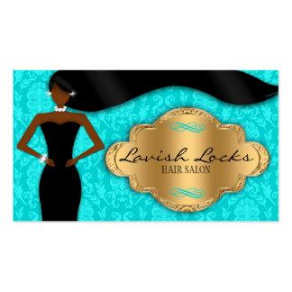 Teal Gold African American Hair Stylist Salon Business Card