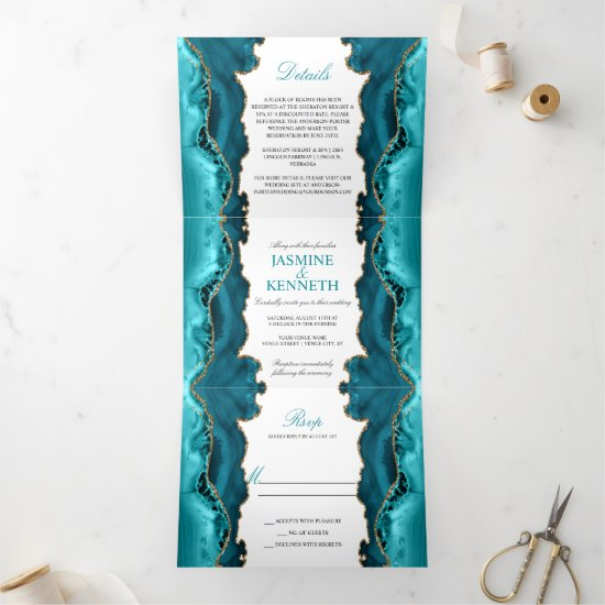 Teal & Gold Agate on White Wedding Tri-Fold Invitation