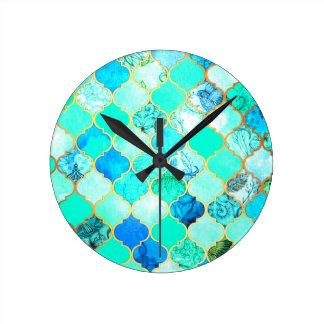 Teal, Gold, Blue Green Mermaid Pattern Round Clock