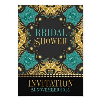 "Teal+Gold Bohemian Bridal Shower Invitations 5"" X 7"" Invitation Card"