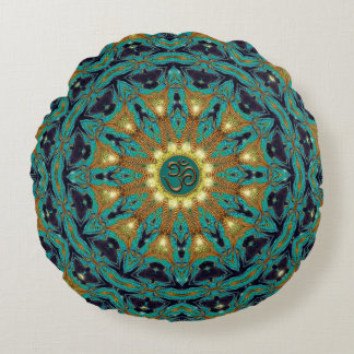 Teal Gold Bohemian Mandala OM Yoga Round Cushion