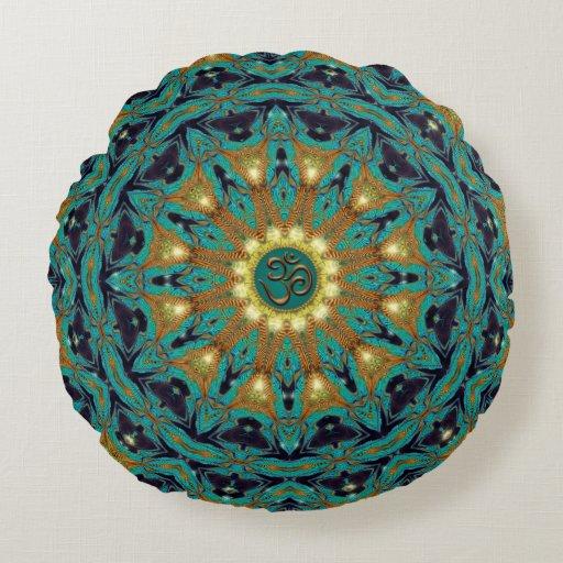 Teal Gold Bohemian Mandala OM Yoga Round Cushion