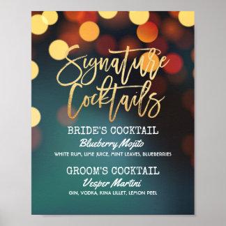Teal Gold Bokeh Light Wedding Signature Drink Menu Poster