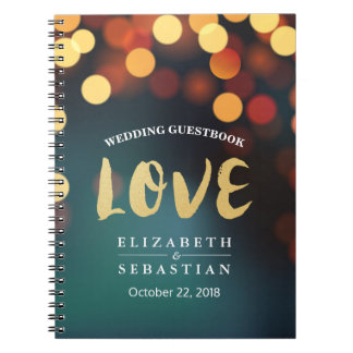 Teal Gold Bokeh String Lights Wedding Guestbook Notebook