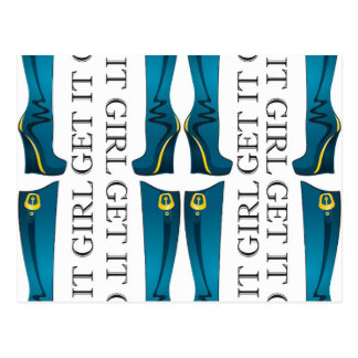Teal/Gold Boots. Get it Girl Postcard