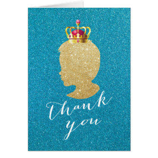 Teal & Gold Boy Silhouette Baby Shower Thank You Card