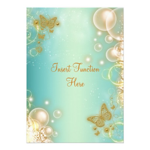 Teal gold butterfly wedding engagement personalized invitations