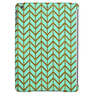 Teal Gold Chevron Glitter Photo Print iPad Air Cases