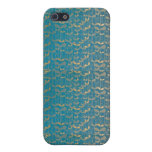 Teal Gold  Damask iPhone 5 Case