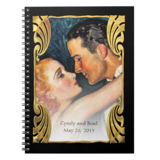 Teal Gold Deco Vintage Hollywood Glamour Couple Notebook