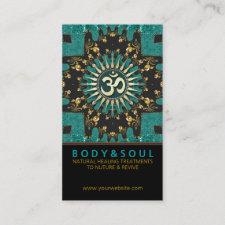 Teal Gold Eastern Sparkle OM Yoga Business Card