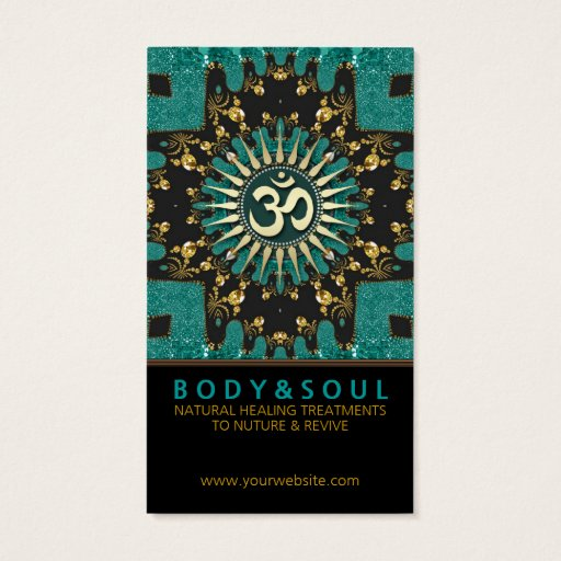 Teal Gold Eastern Sparkle OM Yoga Business Card