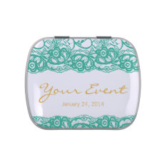 Teal-gold Elegant Mint Tin Favor Jelly Belly Tins at Zazzle
