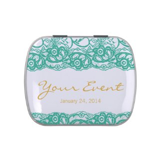 Teal-Gold Elegant Mint Tin Favor