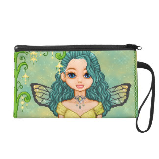 Teal & Gold Faery Pixel Art Wristlet Clutches
