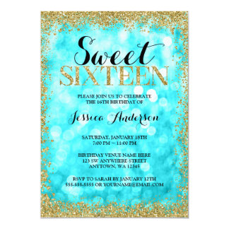 Teal Gold Faux Glitter Lights Sweet 16 Birthday Card