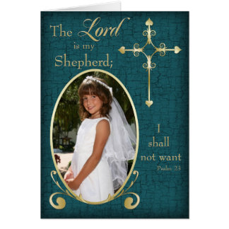 Teal Gold First Communion Photo Thank You Card Card