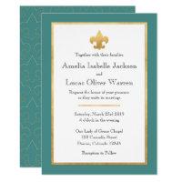 Teal & Gold Fleur De Lis Wedding Invitation