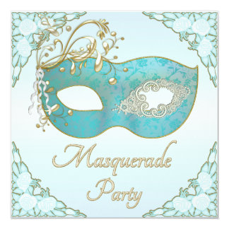 Teal Gold Flourishes Mask Roses Masquerade Party Card