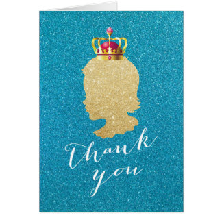 Teal & Gold Girl Silhouette Baby Shower Thank You Card