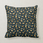 Teal & Gold Glam Leopard Throw Pillow