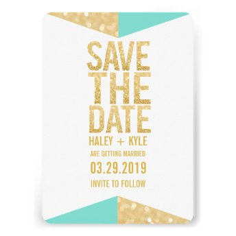 Teal Gold Glitter Aztec Save the Date Typography Custom Invite