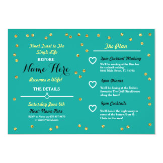 Teal Gold Glitter Bridal Shower Itinerary Invite