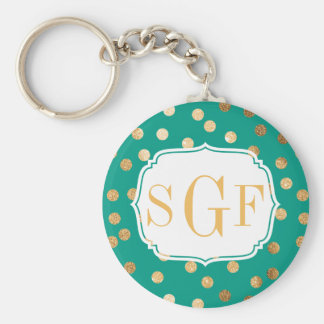 Teal & Gold Glitter City Dots Monogram Key Chain