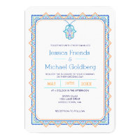 Teal gold hamsa geometric wedding invitation