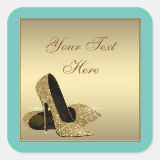 Teal Gold High Heel Shoes Envelope Seal Favor