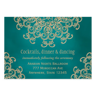 Teal Gold Indian Inspired Reception Enclosure Card Business Card Templates