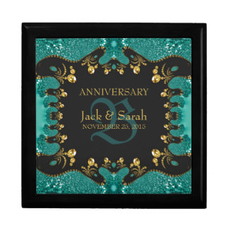 Teal Gold Lace Wedding Anniversary Gift Box