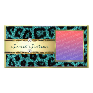 Teal Gold Leapord Pattern Photo Card