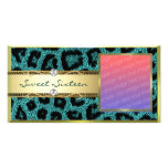 Teal Gold Leapord Pattern Photo Cards