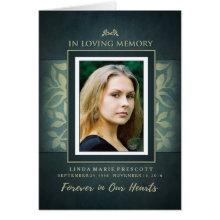 Teal & Gold Loving Memorial Service Photo Invite