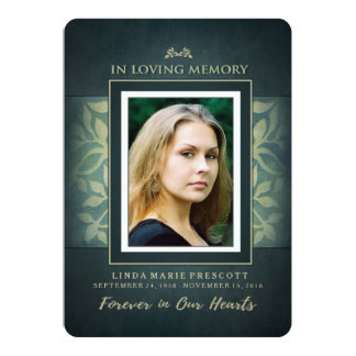 Teal & Gold Loving Memory Photo Thank You Card