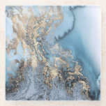 """Teal Gold Marble Metallic Glass Coaster<br><div class=""""desc"""">Features a design of Gold leaf over swirled teal and white marble</div>"""