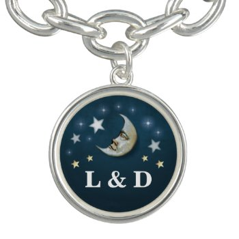 Teal & Gold Moon & Stars Custom Wedding Initials Charm Bracelets by juliea2010 at Zazzle