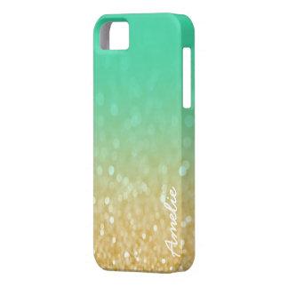 Teal Gold Ombre Glitter Personalized Name Iphone 5 iPhone SE/5/5s Case