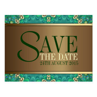 Teal Gold Peacock Save the Date Postcard