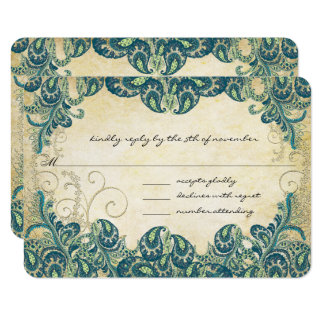 Teal & Gold Peacock Wedding RSVP Card