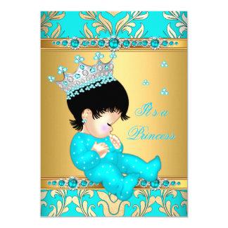 Teal Gold Pearl Princess Baby Shower Brunette Card