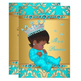 Teal Gold Pearl Princess Baby Shower Ethnic Card
