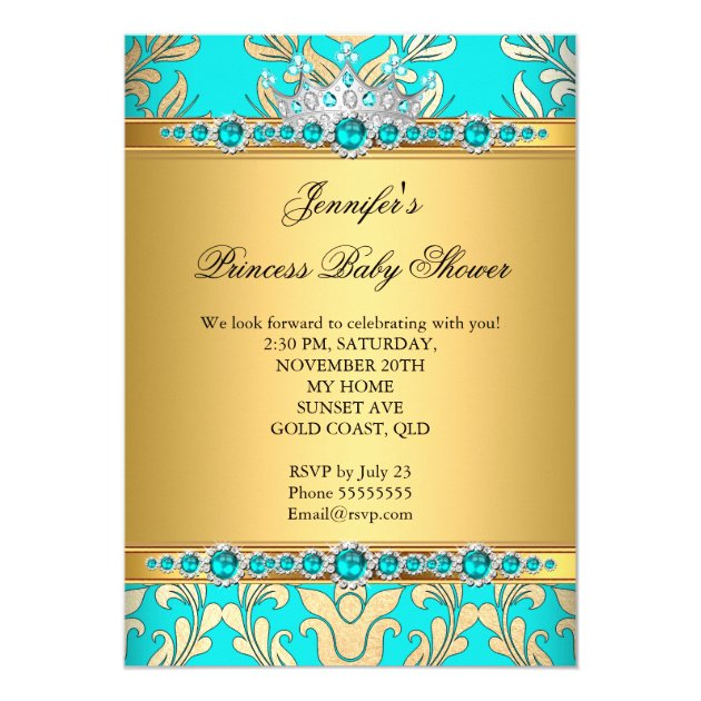 teal gold pearl princess baby shower ethnic card | zazzle, Baby shower invitations