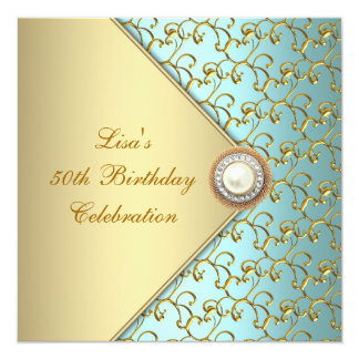 Teal Gold Pearl Womans 50th Birthday Party Card