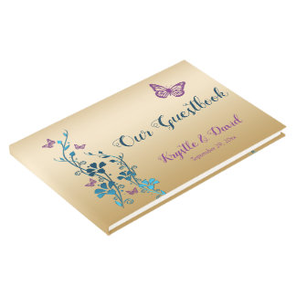 Teal, Gold, Purple Floral, Butterflies Guestbook 2