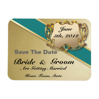 Teal & Gold - Save The Date Flex Magnet