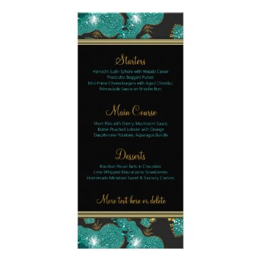 Beach Themed Teal Gold Sparkly Coral Beach Night Wedding Menu